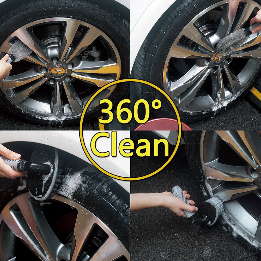 Image 2 - 2 Pcs Steel and Alloy Wheel Cleaning Brush Rim Cleaner For Car Motorcycle Bicycle Tire Wheels Soft wool Steel Brush Washing Tool-in Sponges, Cloths & Brushes from Automobiles & Motorcycles