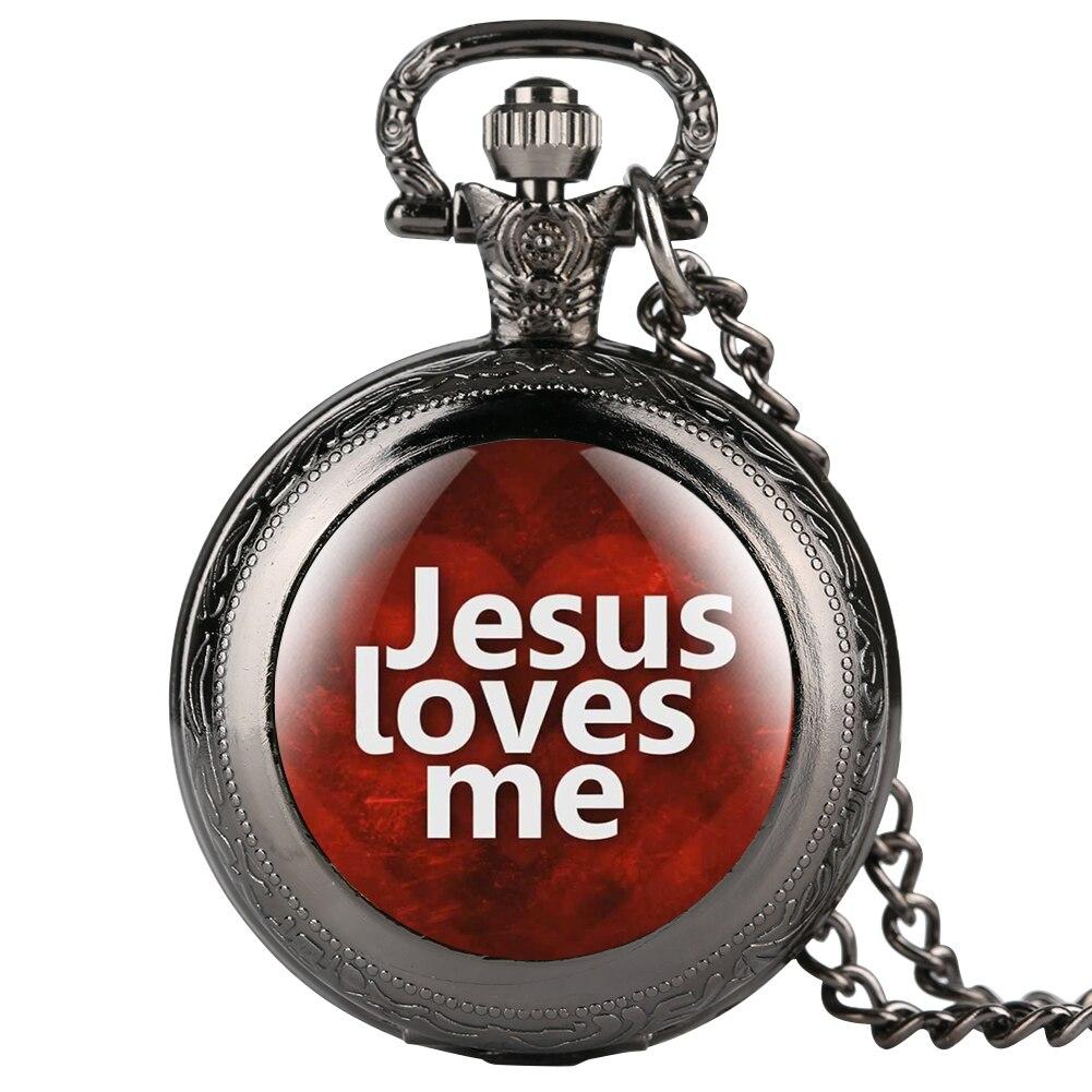 Quartz Jesus Love Me Series Pocket Watch For Men Women Special Watches For Male Female Unisex Pendant Necklace Chain For Friend