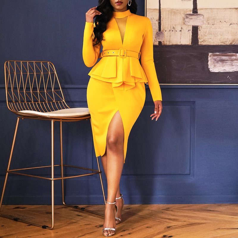 Party Yellow Elegant Office Lady Plus Size Women Pencil Dresses Casual Bodycon Ruffles Split Vintage Female Fashion Retro Dress