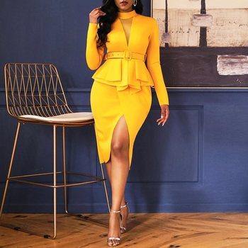 6b555eb7e Vestido de fiesta amarillo elegante de oficina para mujer talla grande  vestidos de tubo Casual Bodycon Ruffles Split Vintage mujer moda Retro