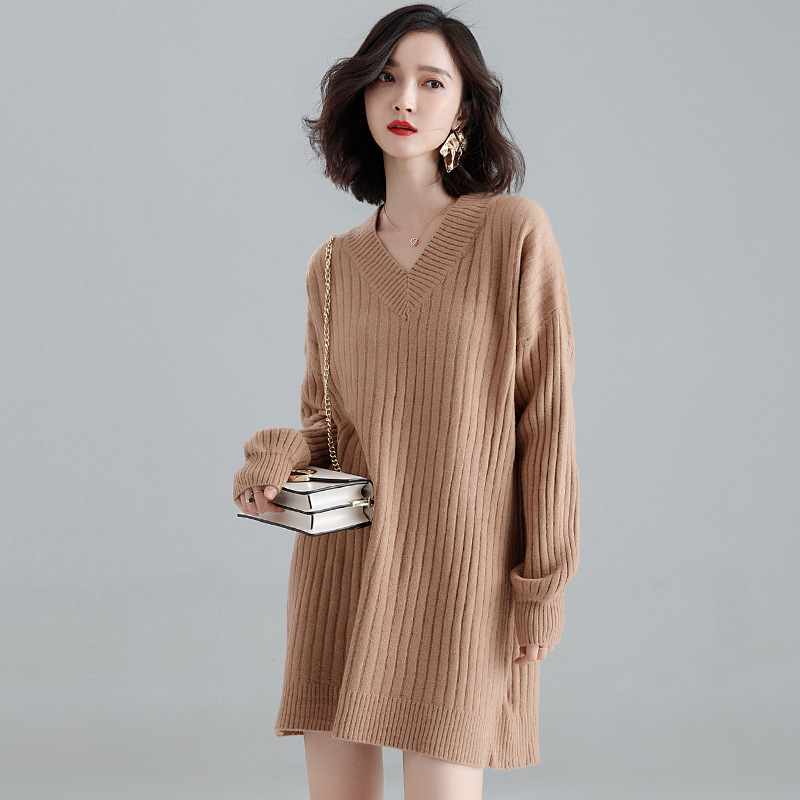 Autumn and winter knitted dress 2018 new stylish loose bottoming sweater dress women 39 s fashion knitting mini dress j9620 in Dresses from Women 39 s Clothing