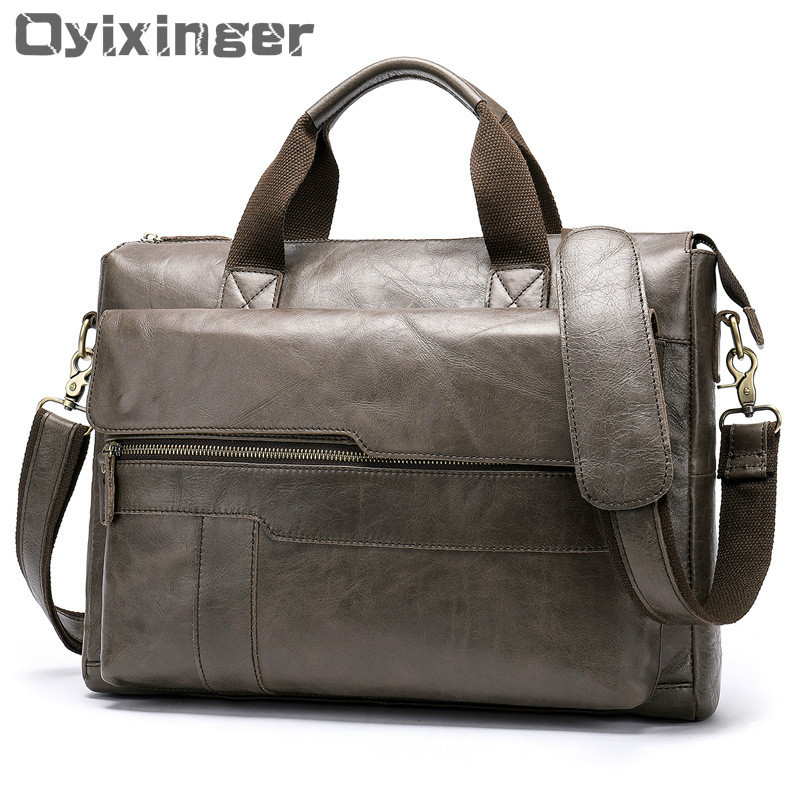 2019 New Design Gray Men's Briefcase Bag Man Genuine Cow Leather Handbag Large Capacity 14 Inch Computers Bag Male Business Bags
