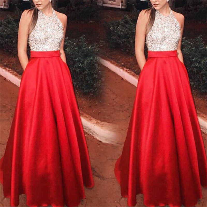 Women Formal Long Maxi Dress Elegant Woman Ethnic Style Stitching Evening Party Ball Prom Gown Sequins Dress 2019 New Dresses
