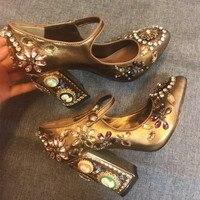 Элитный бренд дизайн модные женские туфли лодочки ручной работы кристалл прямой валиковый шов со стразами пояса из натуральной кожи обувь