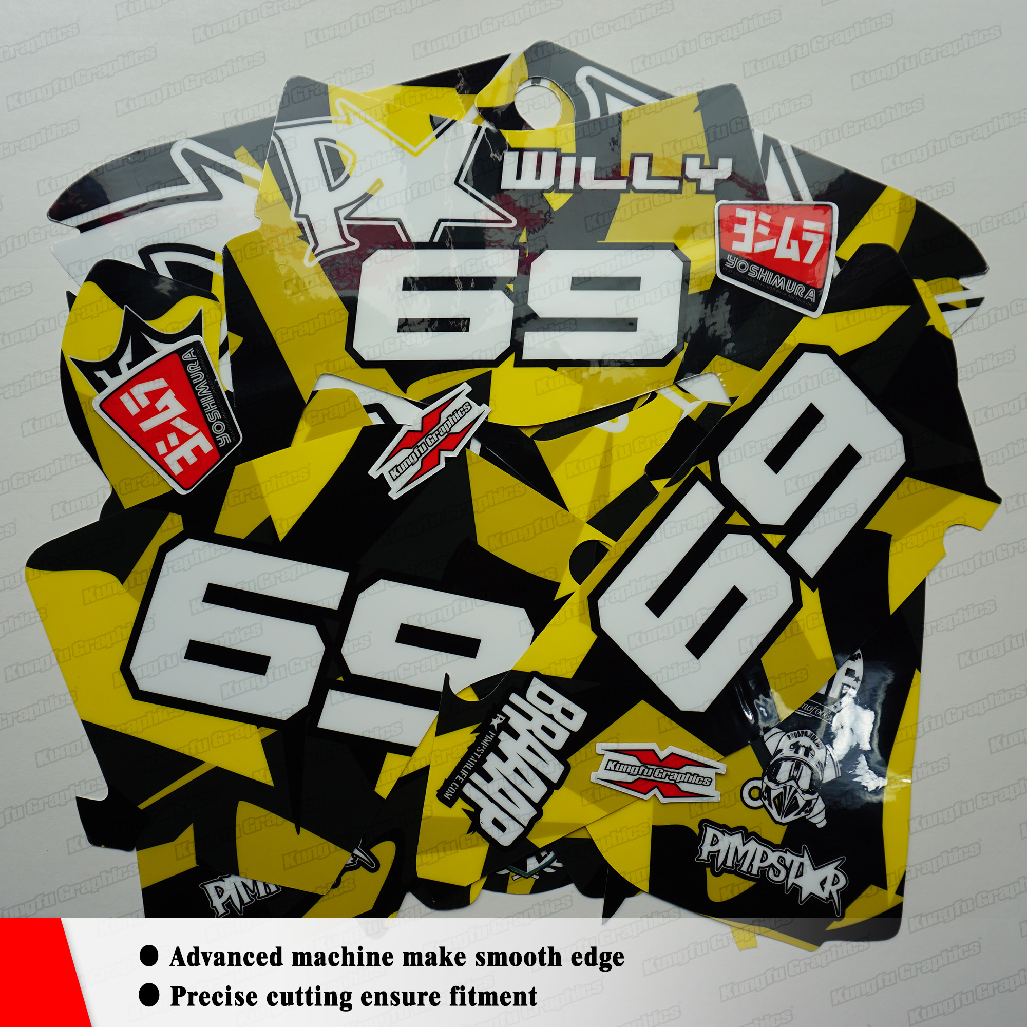Kungfu graphics motocross custom stickers vinyl decals kit for beta 250 300 350 390 430 480 rr 2018 2019 style no btrr1819001 in decals stickers from