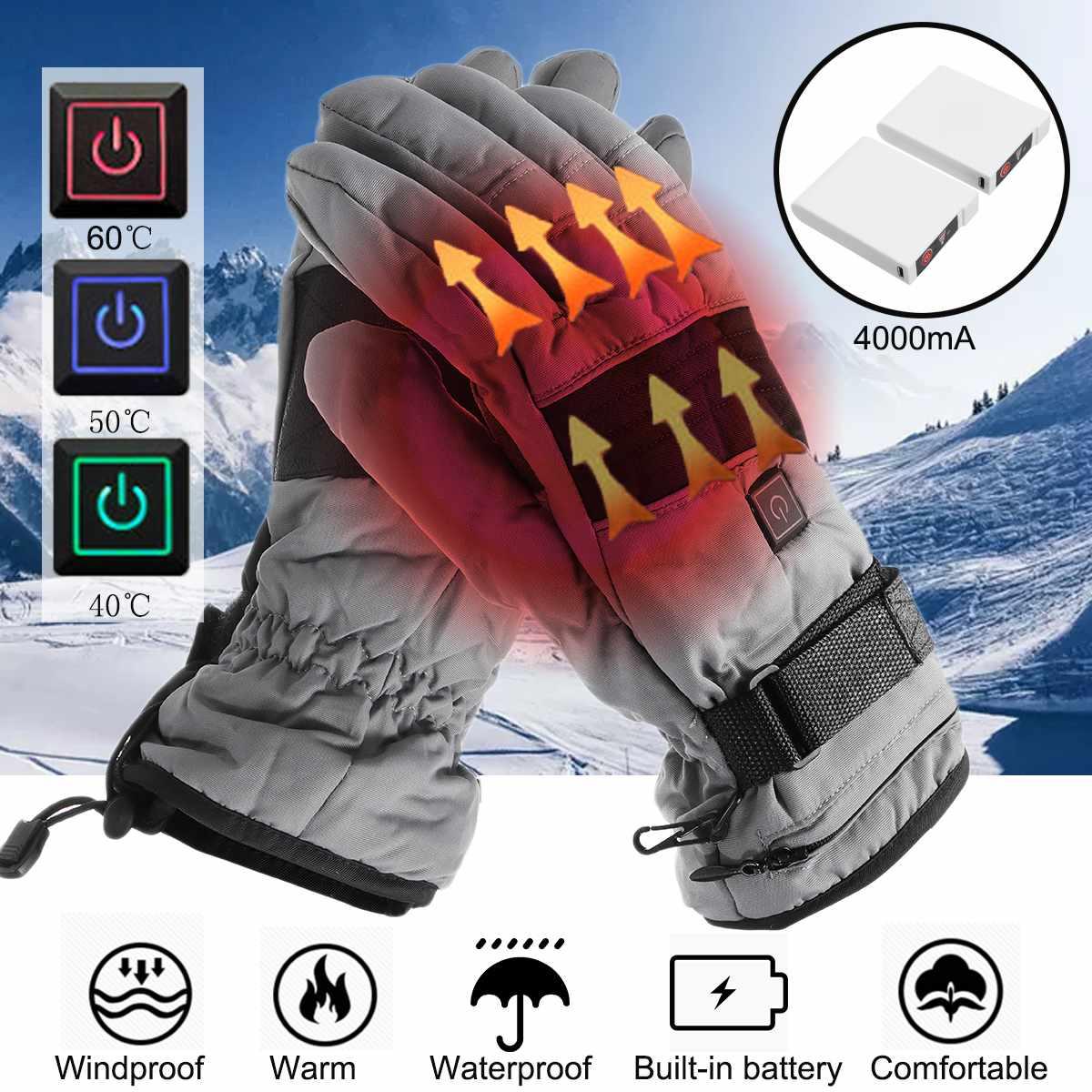4000 mah Électrique Thermique Chaud et Imperméable Gants Chauffants Batterie Alimenté Pour Moto Ski Ski Gants Hiver Chaud À La Main