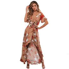 цена на Front Lace Up Women Dress Summer Beachwear Elastic Ruffle Sleeve Irregular Hem Evening Party Floral Print Long High Waist Sexy