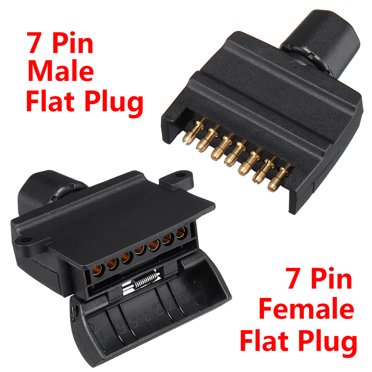 7 Pin Flat Male 7 Pin Plug Flat Female Trailer Connector