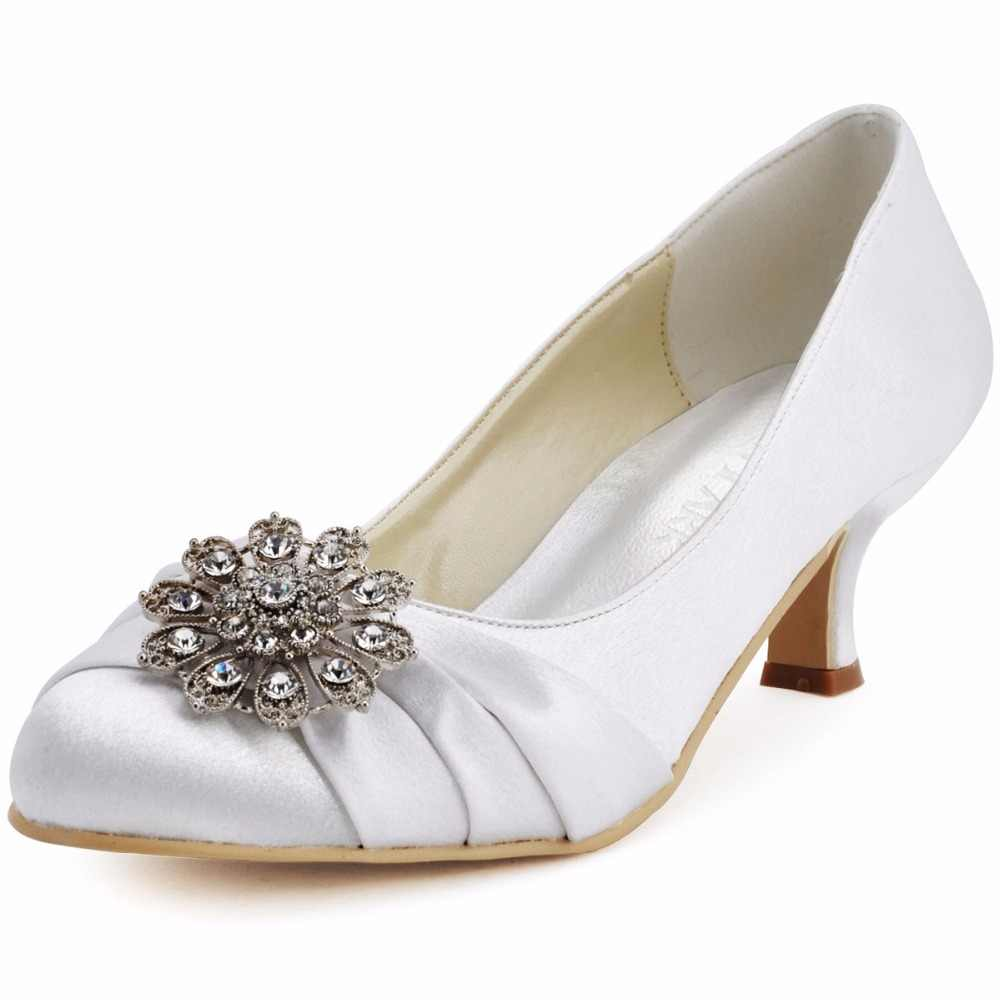 Woman Shoes Mid Heels Wedding Bridal Crystal Stain Bride Bridesmaid lady  Evening Prom party dress Pumps 52000d1ed34b