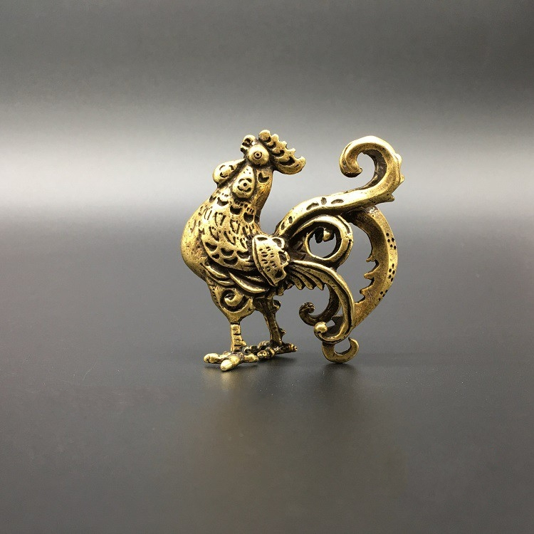 Collectable Chinese Brass Carved Zodiac Animal Chicken Cock Exquisite Small Statues