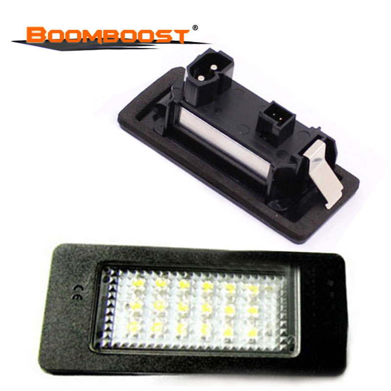2Pcs 18SMD <font><b>12V</b></font> LED Car Lights LED License plate lamp For BMW E39 M5 <font><b>E5</b></font> E90 E90 E92 E93 E70 E71 X5 X6 M3 Number plate Light image