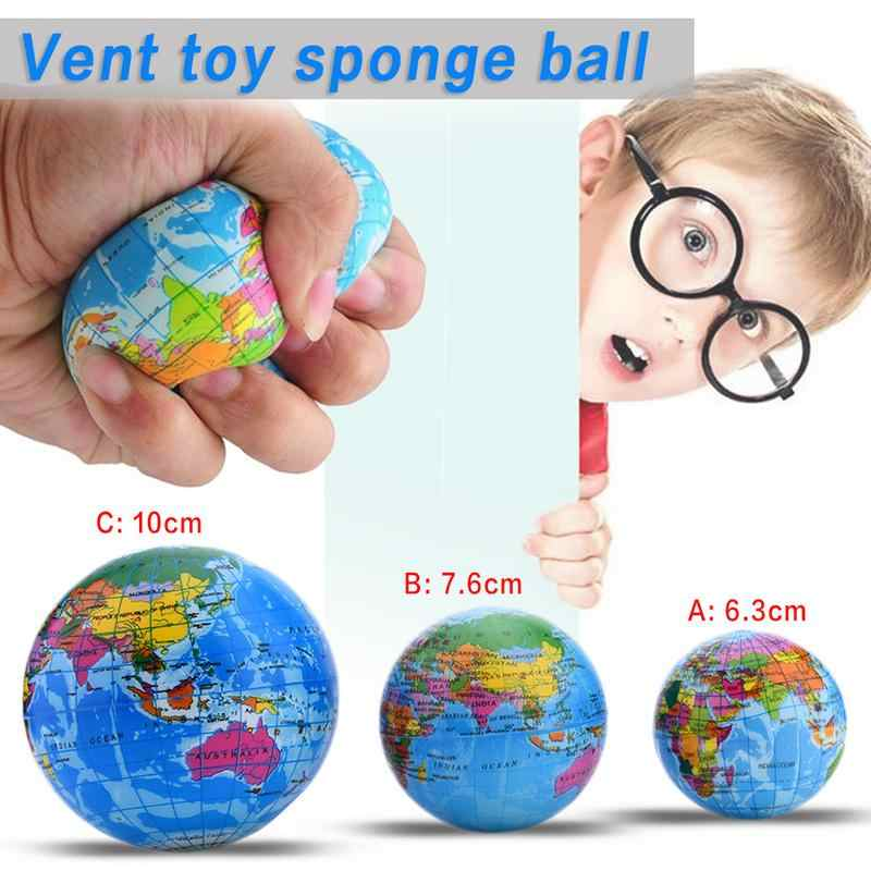 6-10CM PU Slime Squish Sponge Ball Funny Foam Bouncy Ball Tellurion For Adult Decompression Worldmap Rebound Education Toys