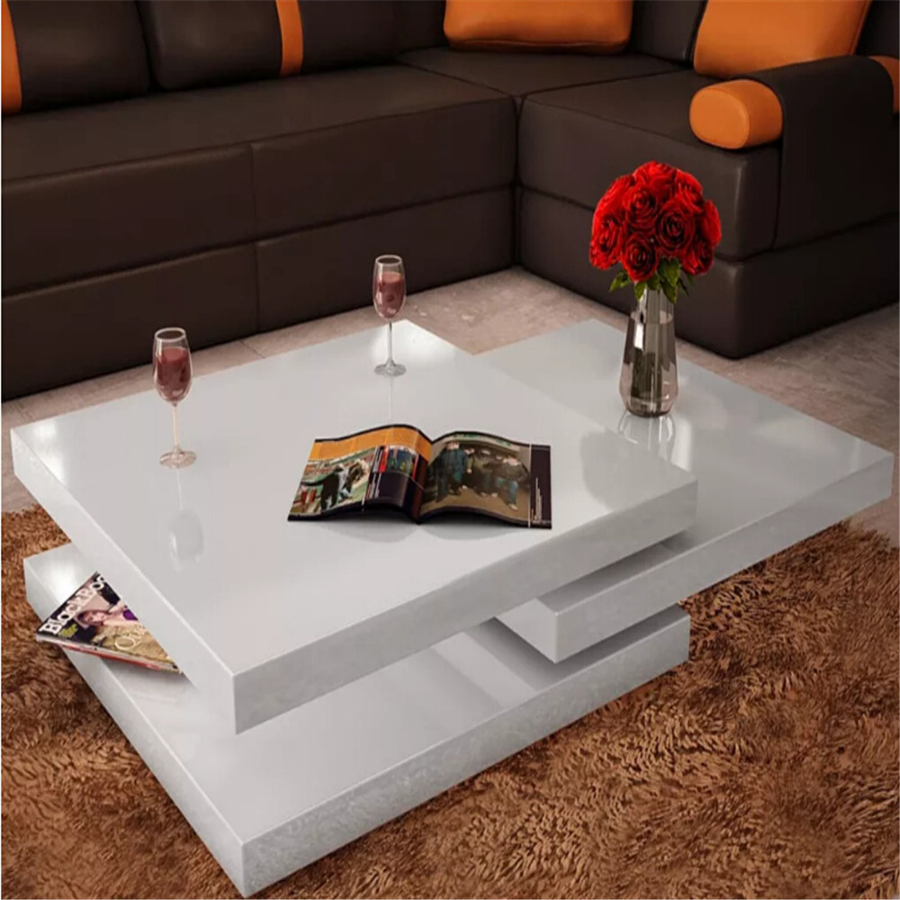 VidaXL Square White Lacquered Coffee Table 3 Tiers High Gloss White MDF Coffee Tables Assembale Living Room Furniture 241077