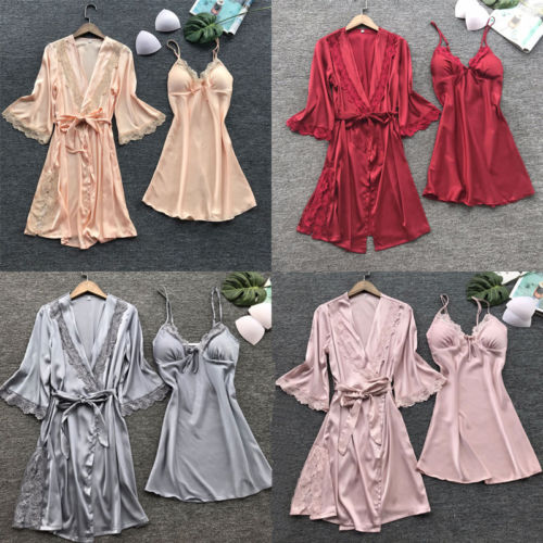 3 Pieces Sexy Lingerie Women Silk Lace Robe Dress Babydoll Nightdress Nightgown Sleepwear Underwear Outfits Clothes Set