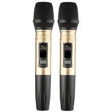 2 шт./компл. Ux2 Uhf Беспроводная микрофонная система ручной светодиодный микрофон Uhf динамик с портативным usb-приемником для Ktv Dj речевой усилитель