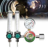Mig Flow Meter Dual Backpurge 2.5 MPA Gas Argon AR/CO2 Regulator Welding Weld Plastic Metal Calibrated Helium Safety Durability