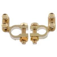 Parafuso de conexão positiva e negativa  2 peças  pequenos terminais da bateria do carro  braçadeiras  cabos de latão  acessórios