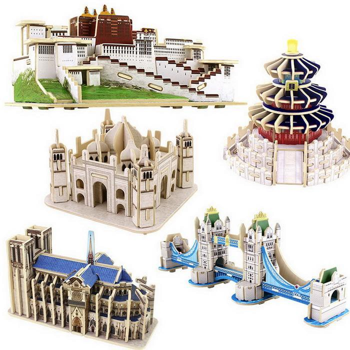 Model Building Toys World famous building 3D wooden three-dimensional puzzle DIY model diagram Creative educational toys