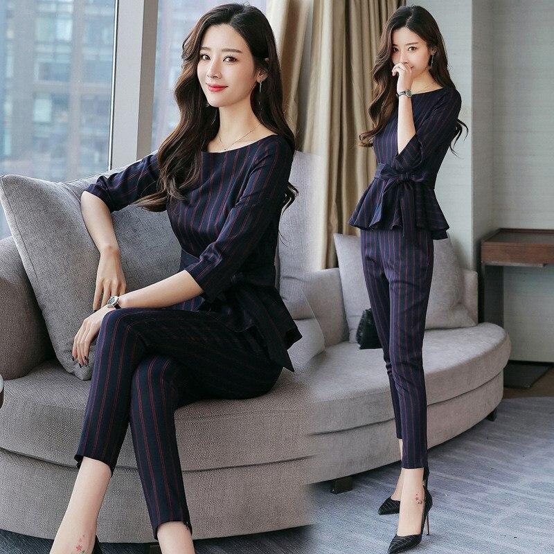 2019 New Business Pant Suits High Quality Formal Women Ol Elegant Striped 2 Piece Sets Casual Uniform Blouse Set