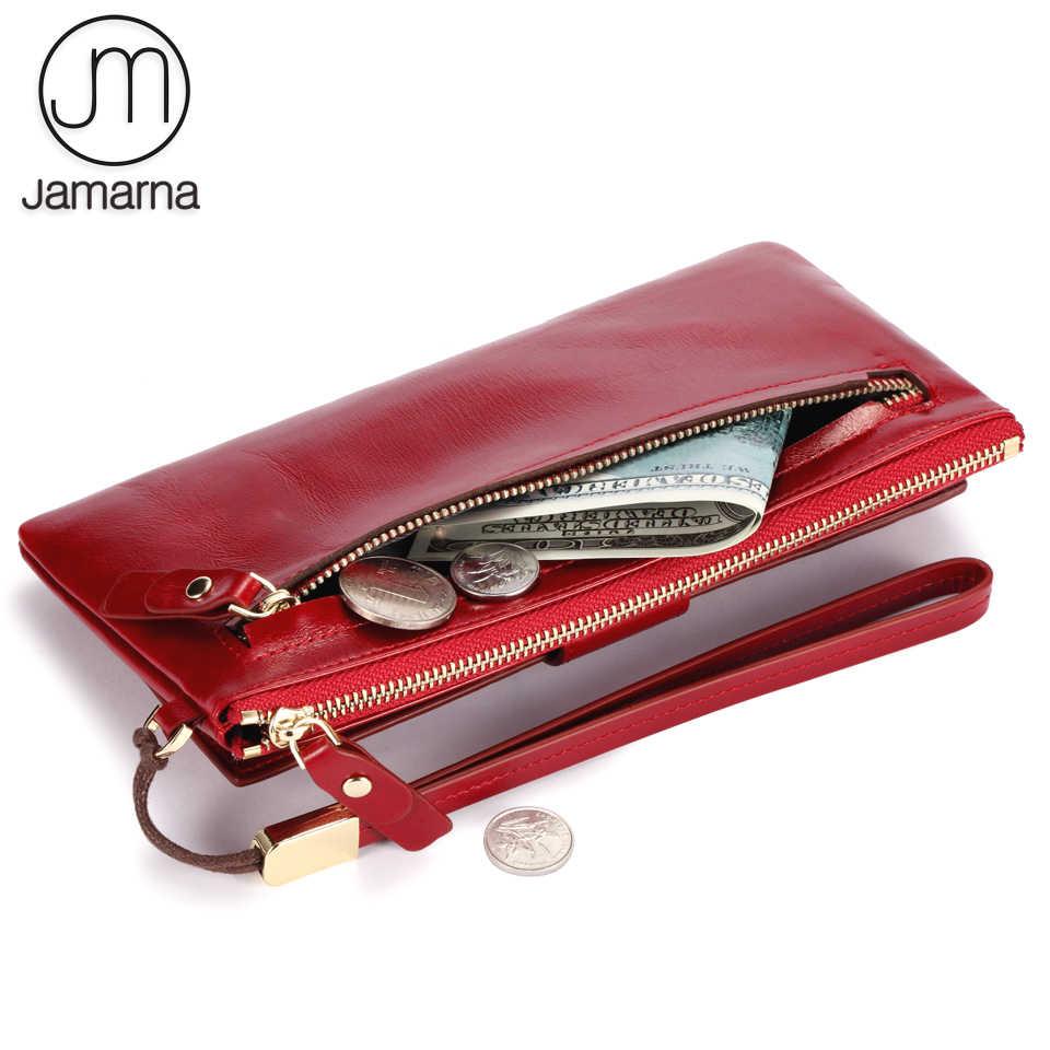 Jamarna محفظة الإناث الجلود طويلة مخلب الإناث محفظة حامل بطاقة النساء محافظ المحمول جيب سستة عملة حقيبة أحمر النفط الشمع