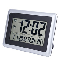 LCD Digital Alarm Clock With Indoor Temperature Alarm Clock Battery Operated Time Date Display