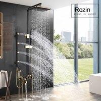 Bathroom Shower System Body Massage Jets Shower Faucet set Rainfall Bath Shower Mixer Tap Bidet Sprayer Head Swivel Spout