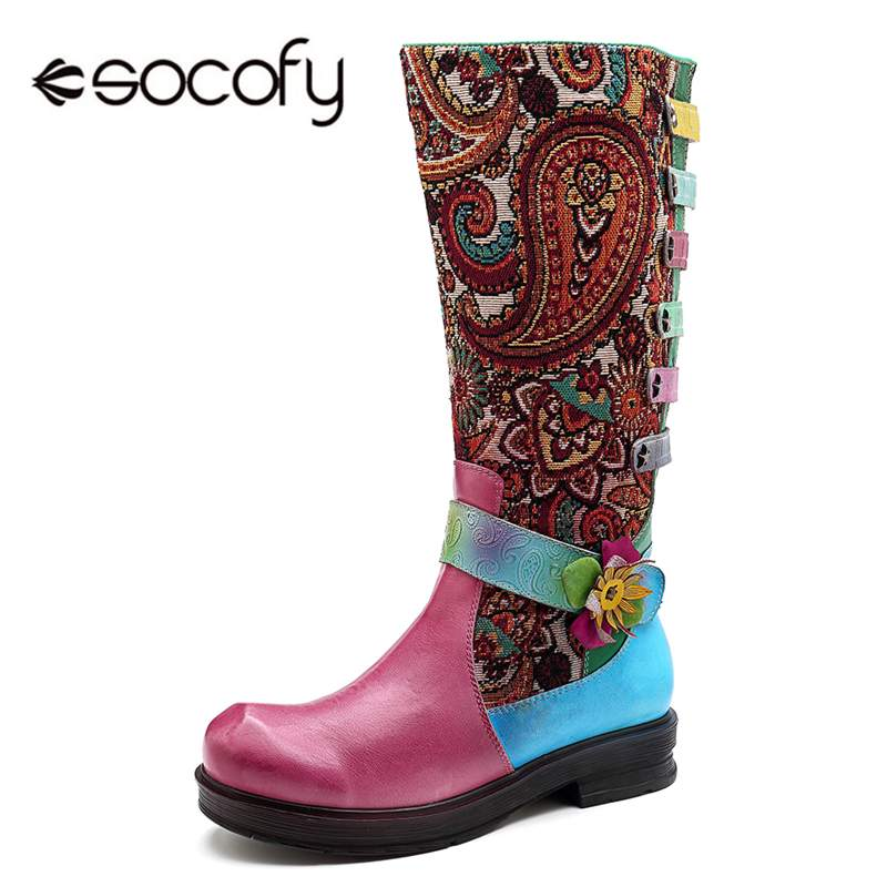 Socofy Retro Bohemian Genuine Leather Boots Women Shoes Woman Splicing Jacquard Flower Winter Mid-calf Boot Zipper Botas MujerSocofy Retro Bohemian Genuine Leather Boots Women Shoes Woman Splicing Jacquard Flower Winter Mid-calf Boot Zipper Botas Mujer