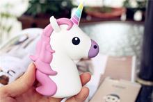 hot deal buy 8000 mah unicorn power bank portable battery charger  funny cute emoji 18650 charge cartoon powerbank mini external battery bank