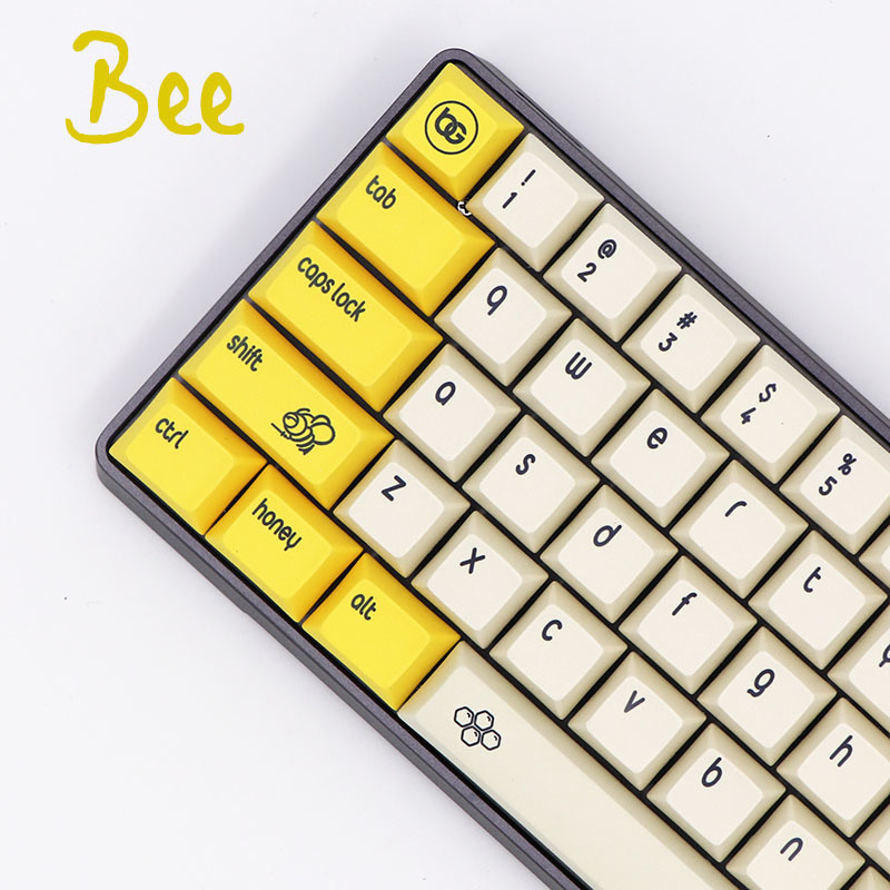 1 set DSA Bee Dye Sublimation Customization Mechanical Keyboard Key Cap GH60 61 <font><b>64</b></font> 68 660M ANSI PBT <font><b>Keycaps</b></font> image
