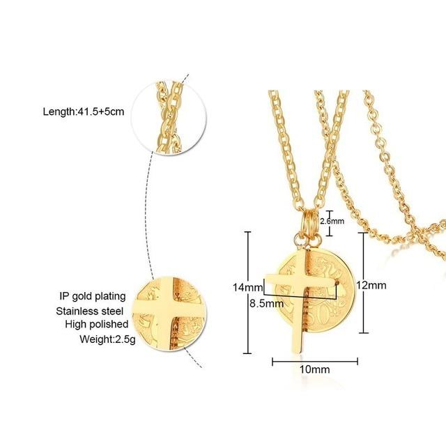 Retro rainha elizabeth moeda colar cor do ouro cruz de aço inoxidável pingente feminino presentes oração