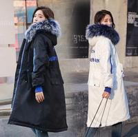 Winter large size women's down cotton pad embroidery letters long large fur collar casual jacket parkas