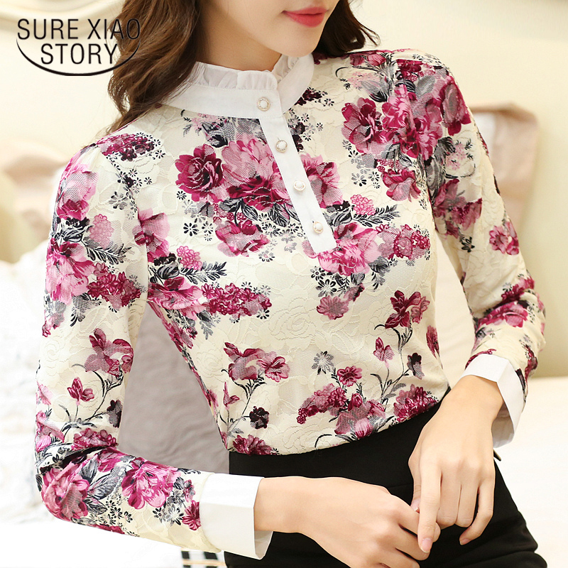 womens tops and blouses plus size tops witner women blouse shirt fashion 2018 long sleeve print lace blouse women shirts Z05 40