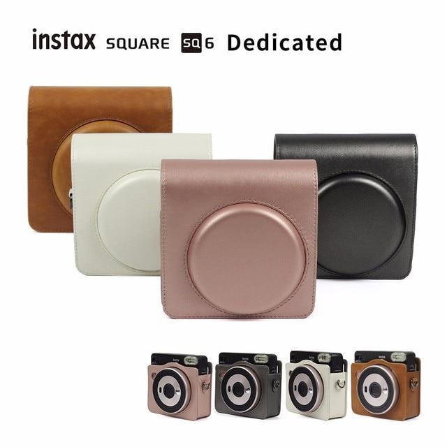 FUJIFILM Instax כיכר SQ6 מצלמה תיק 4 צבעים Vintage עור מפוצל מקרה כתף רצועת פאוץ לשאת כיסוי הגנה