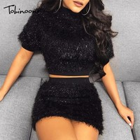 Tobinoone Autumn Women Dress Vestidos Verano 2018 Feather Sexy Clubwear Bodycon Celebrity Party Dress Women Two Piece Dress