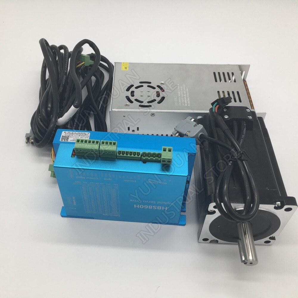 Nema34 12Nm 86 MM AC DC Driver de Motor de Passo em Malha Fechada de DSP & 400 W 60 V DC fonte de Alimentação hybird Codificador Fácil Passo Servo Kits