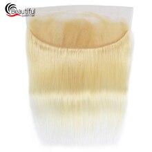 Красивые queen 10A перуанские человеческие волосы 613 блондинка 13x4 прямой прозрачный кружевной фронтальной девственные волосы с детскими волосами швейцарское кружево