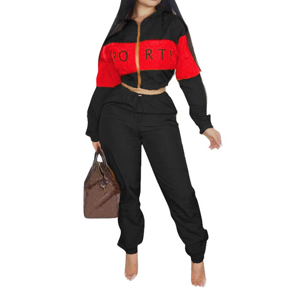 df322c15f395b Detail Feedback Questions about Plus Size 2 Two Piece Set Women Clothes  Patchwork Zip Tops+Bodycon Pants Sweat Suit Casual Outfits Matching Sets  Tracksuit ...