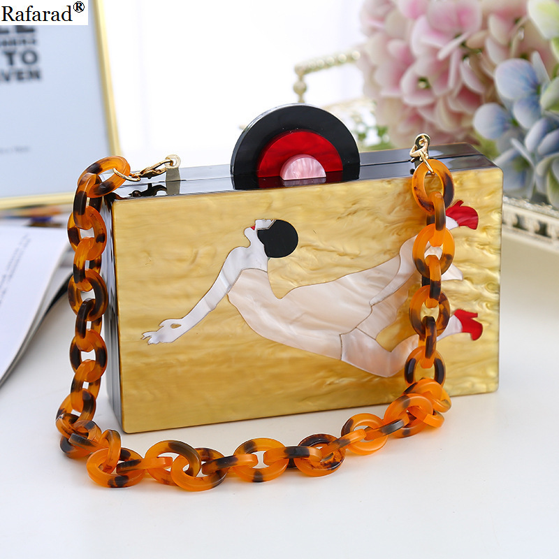 Bright Pearl Acrylic Bag Top Handle Tote Evening Clutch Banquet Woman Bag Female Acrylic Handle Bag Beauty High-heeled Shoe Girl Fragrant Aroma Pearl