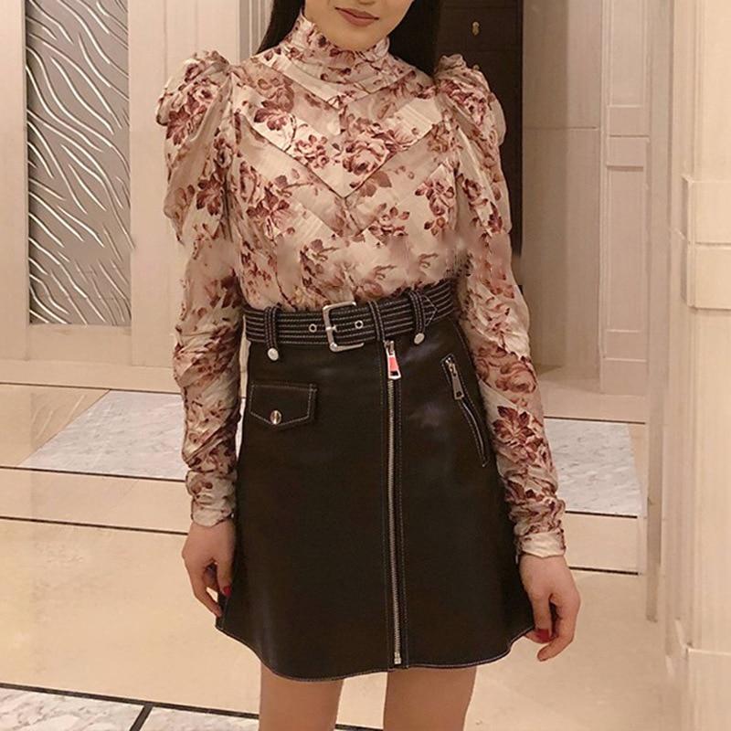 Be660 Impression Mode Femmes Marée Nouvelle Blouse Irrégulière Manches Décontracté 2018 Chemises Plein Pink À La Deat Vêtements Personnalité Faqw0tx0