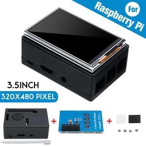 Image 1 - Dla Raspberry Pi 3 kolorowy ekran TFT Tou ch wyświetlacz LCD 3.5 cala + etui z ABS + pióro dotykowe Monitor LCD zestaw dla Raspberry Pi