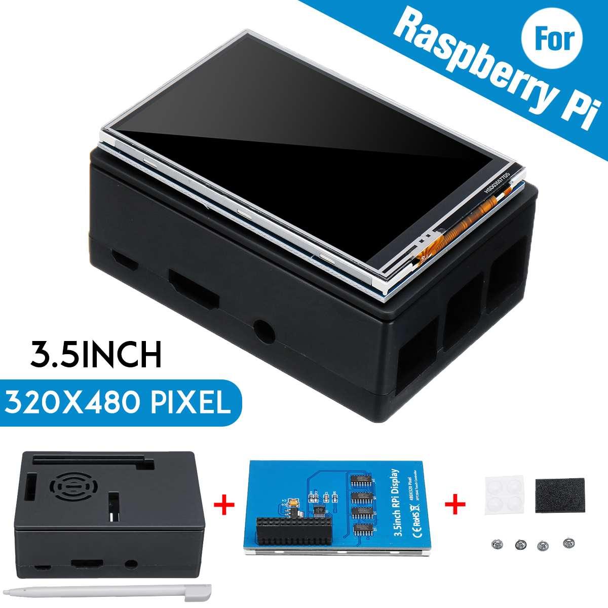 Para raspberry pi 3 cor tft tou ch tela lcd 3.5 polegada + abs caso caneta de toque display lcd monitor conjunto para raspberry pi