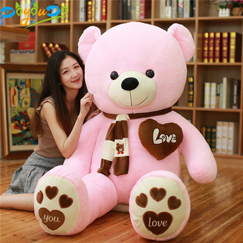 High Quality 80/100CM Teddy Bear With Scarf Stuffed Animals Bear Plush Toys Teddy Bear Doll Lovers Baby Birthday Gift