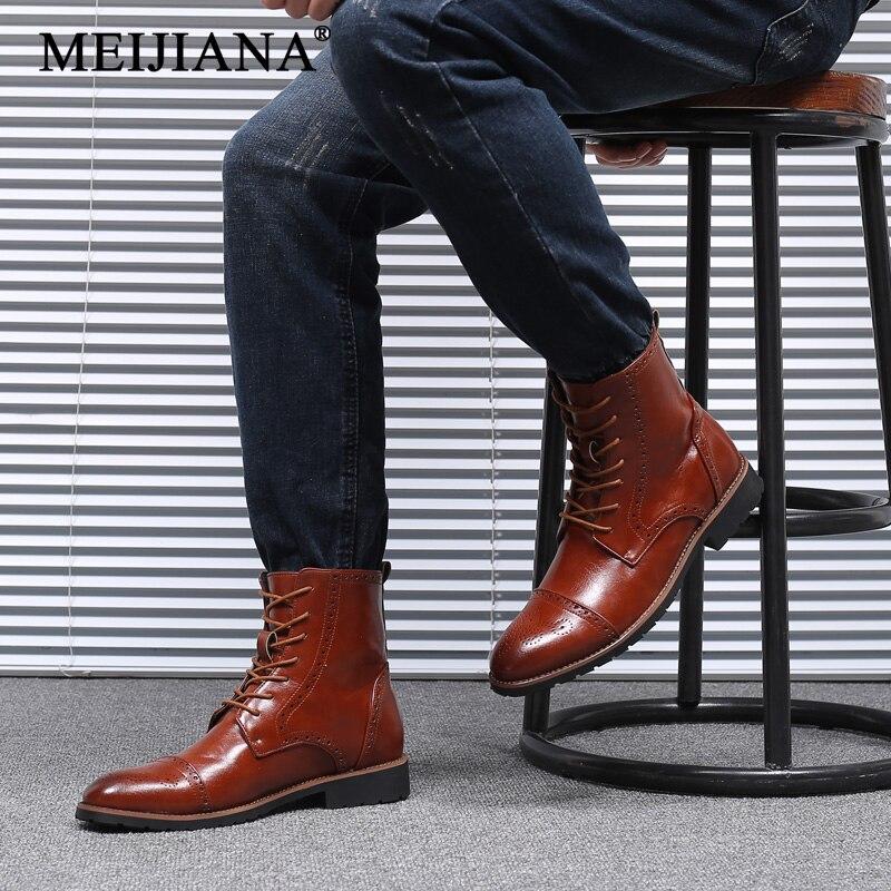 Mens Leather Ankle 2018 Autumn Winter Martens Shoes Men Hot Shoes MEIJIANA Fur Doc Boots Oxfords