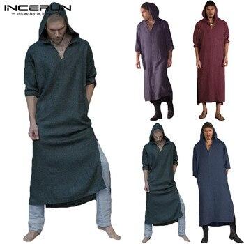 30c483e2055a8 INCERUN hommes islamique arabe musulman caftan à capuche à manches longues  Vintage robe lâche Robes hommes arabie saoudite vêtements musulmans grande  taille