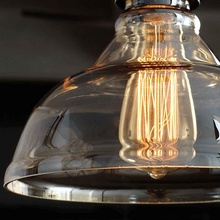 25cm Retro Ceiling Light Lamp Round Vintage Industrial Design Iron Vintage Light Deco Bulb Lighting Fixture Glass Lamp Shade