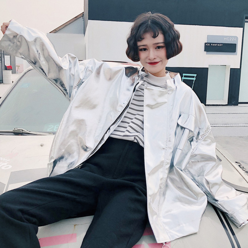 Glossy Fabric   Basic     Jacket   Woman 2019 Spring Loose Plus Size Streetwear Solid Zipper Thin Coat Outwear Baseball   Jackets   OKD761