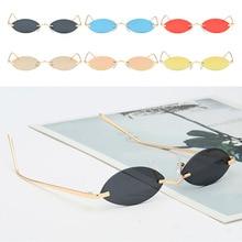 Small Oval Metal Sunglasses Women Cat Eye Sun Glasses Retro Rimless Eyeglasses Brand Designer Vintage 90s Sunglass Mirror UV400
