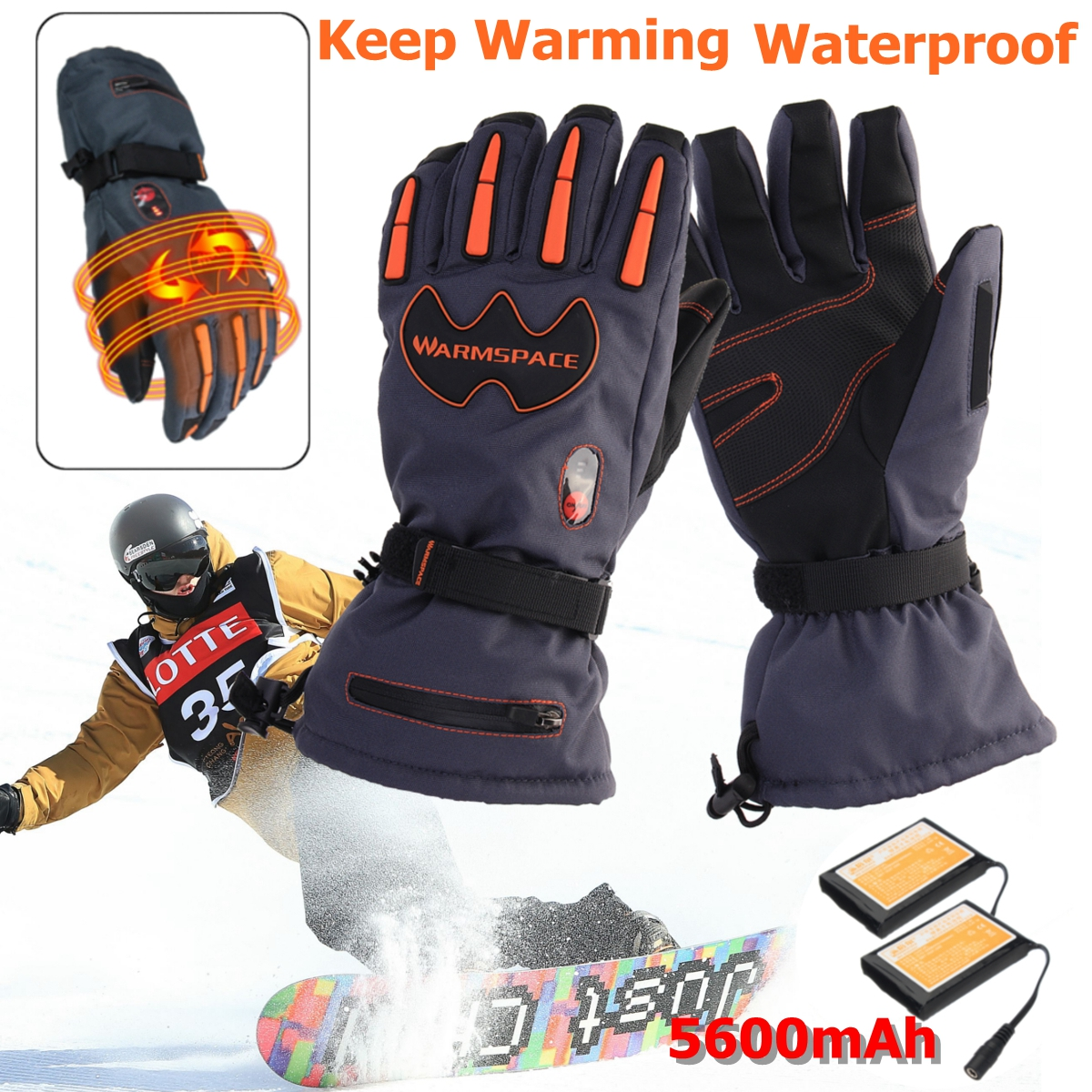 5600mAh Rechargeable Battery Electric Heated Hands Motorcycle Gloves Winter Warmer With 2 Batteries