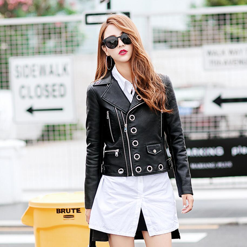 2018 Punk Style Metal Rivets Hollow Out Faux Pu Leather Jacket Women