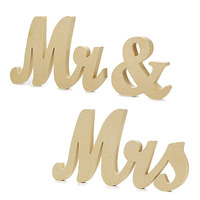 Mr & Mrs Sign Creative Romantic Wood Photography Prop Wedding Table Decoration for Wedding Room Decoration